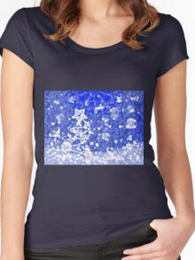 Blue Christmas background Women's Fitted Scoop T-Shirt