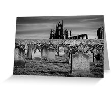 Whitby Abbey and cemetery during the night  Greeting Card