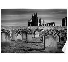 Whitby Abbey and cemetery during the night  Poster