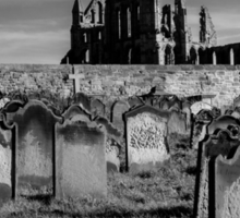 Whitby Abbey and cemetery during the night  Sticker