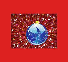 Blue Christmas ball on sparkle red background Unisex T-Shirt