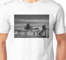 Whitby Abbey and cemetery during the night  Unisex T-Shirt