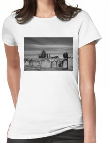 Whitby Abbey and cemetery during the night  Womens Fitted T-Shirt