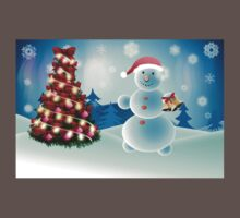 Snowman and Christmas tree One Piece - Short Sleeve