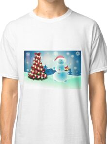 Snowman and Christmas tree Classic T-Shirt