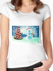 Snowman and Christmas tree Women's Fitted Scoop T-Shirt