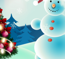 Snowman and Christmas tree Sticker