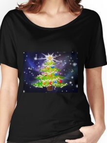 Cartoon Christmas tree background Women's Relaxed Fit T-Shirt