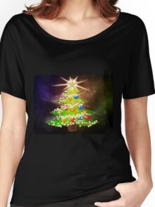 Cartoon Christmas tree background 2 Women's Relaxed Fit T-Shirt