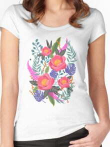 Night Blossom art print T-shirt femme moulant à col profond