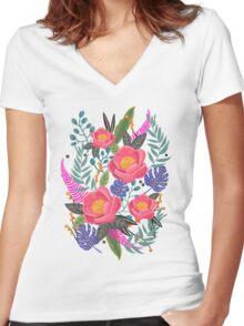 Night Blossom art print T-shirt femme moulant col V