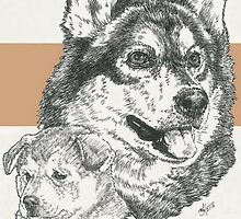 Alaskan Malamute, Father & Son by BarbBarcikKeith