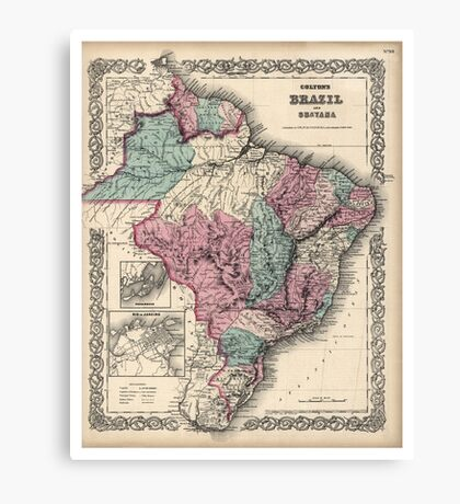 Colton's Brazil with Guayana - 1871 Canvas Print