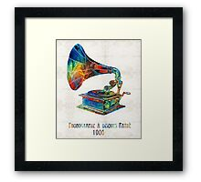 Colorful Phonograph Art by Sharon Cummings Framed Print