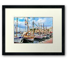 Traditional boats in port of Sanary-sur-Mer , Var, France Framed Print