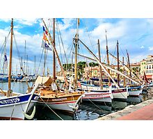 Traditional boats in port of Sanary-sur-Mer , Var, France Photographic Print