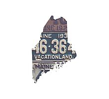 Vintage Maine License Plates Photographic Print