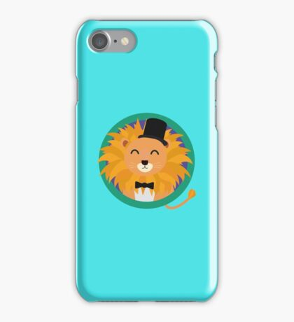Lion groom with cylinder iPhone Case/Skin