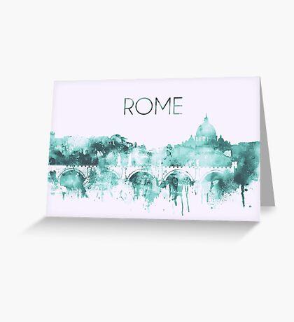 Rome Watercolor Blue Skyline of the Italian Capital,Modern Italian Art Greeting Card