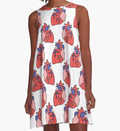 human heart doodle pattern A-Line Dress
