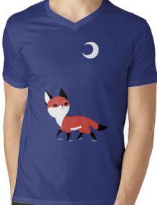 Moon Fox Mens V-Neck T-Shirt