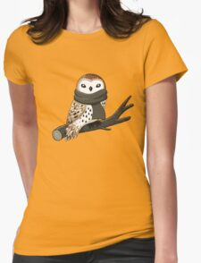 Winter Owl Womens Fitted T-Shirt