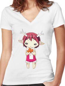 Deer Girl Women's Fitted V-Neck T-Shirt