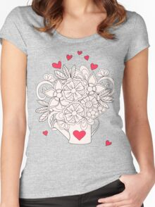 bouquet with love T-shirt femme moulant à col profond