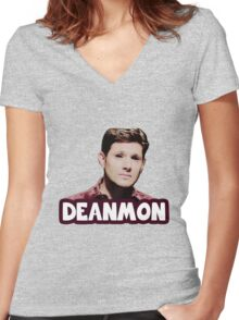 """Deanmon"" Demon!Dean Women's Fitted V-Neck T-Shirt"
