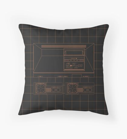 Master System outlines single (black) Throw Pillow