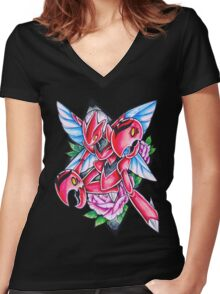 Scizor Women's Fitted V-Neck T-Shirt