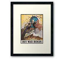 BUY WAR BONDS - Classic World War 2 Propaganda Poster Framed Print