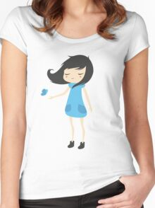 Girl and a Butterfly 2 Women's Fitted Scoop T-Shirt