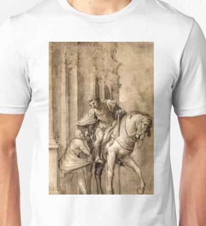 Saint Martin Dividing His Cloak with a Beggar - Lorenzo Lotto - ca. 1530 Unisex T-Shirt