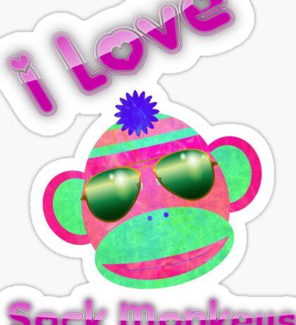 I Love Sock Monkeys Sticker