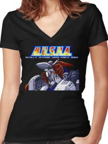 M.U.S.H.A. (Genesis Title Screen) Women's Fitted V-Neck T-Shirt