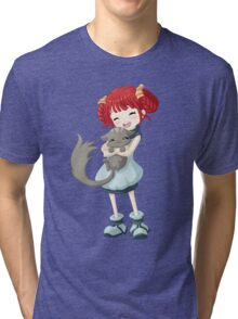 Girl and a Cat Tri-blend T-Shirt