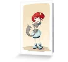 Girl and a Cat Greeting Card