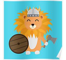 Lion viking with helmet Poster