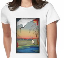 Chinese Cranes in the Sunset Womens Fitted T-Shirt