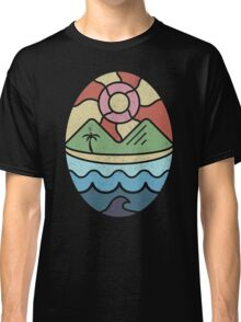 Island Landscape with Ocean, Beach, Mountains, and Sun Classic T-Shirt