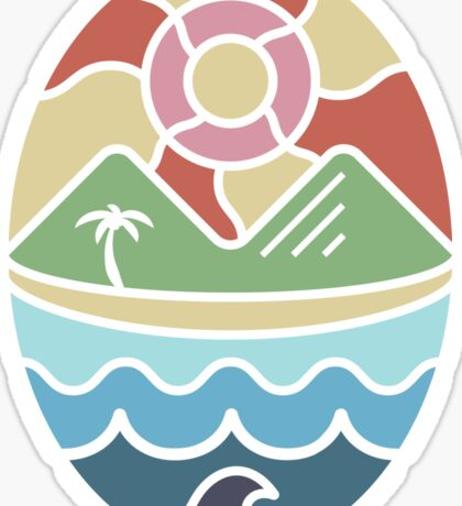 Island Landscape with Ocean, Beach, Mountains, and Sun Sticker