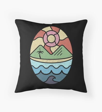 Island Landscape with Ocean, Beach, Mountains, and Sun Throw Pillow