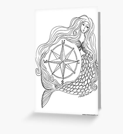 Thessalonike – Macedonian #Mermaid with Compass Greeting Card