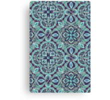 Chalkboard Floral Pattern in Teal & Navy Canvas Print