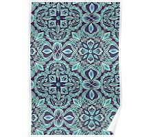 Chalkboard Floral Pattern in Teal & Navy Poster