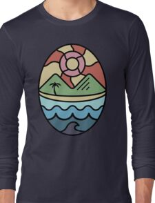 Island Landscapes with Black Outline Long Sleeve T-Shirt