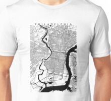 Philadelphia Black and White Map Unisex T-Shirt