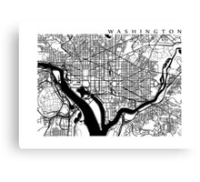 Washington DC Black and White Map Art Canvas Print