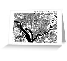 Washington DC Black and White Map Art Greeting Card